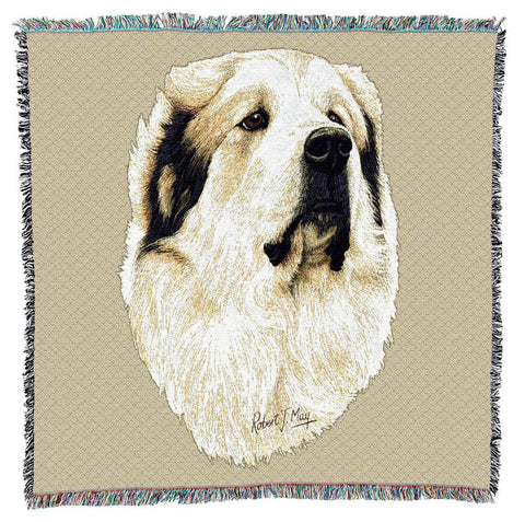 Great Pyrenees Dog Portrait Art Tapestry Lap Throw