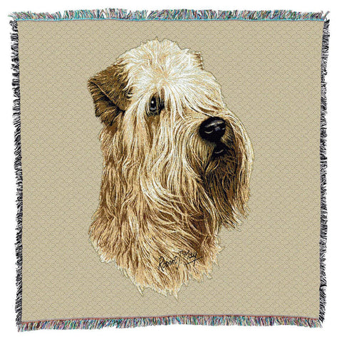 Soft Coated Wheaten Terrier Dog Portrait Art Tapestry Lap Throw