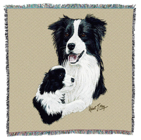 Border Collie Dog and Puppy Portrait Art Tapestry Lap Throw