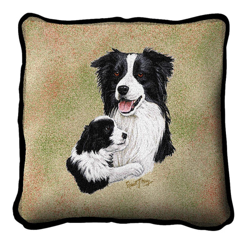 Border Collie Dog and Puppy Portrait Art Tapestry Pillow