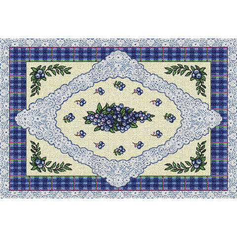Blueberries and Lace Art Tapestry Placemat, Set of 4
