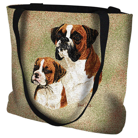 Boxer Dog and Puppy Portrait Art Tapestry Tote Bag