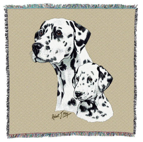 Dalmatian Dog and Puppy Portrait Art Tapestry Lap Throw
