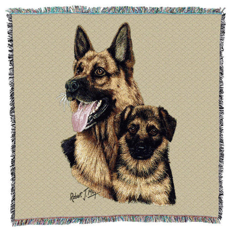 German Shepherd Dog and Puppy Portrait Art Tapestry Lap Throw