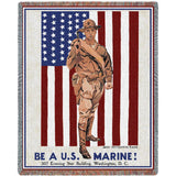 Be A U.S. Marine! Art Tapestry Throw