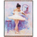 Ballet Dancer Reflection Art Tapestry Throw
