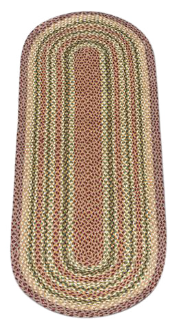 Olive/Burgundy/Gray 2'x6' Oval Braided Jute Rug 13-324