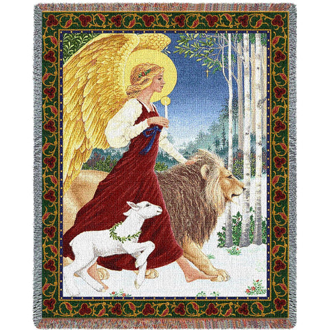 Angel with Lion and Lamb Art Tapestry Throw