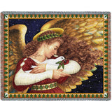 Angel and Dove Art Tapestry Throw