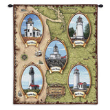 Lighthouses of the Northwest Art Tapestry Wall Hanging