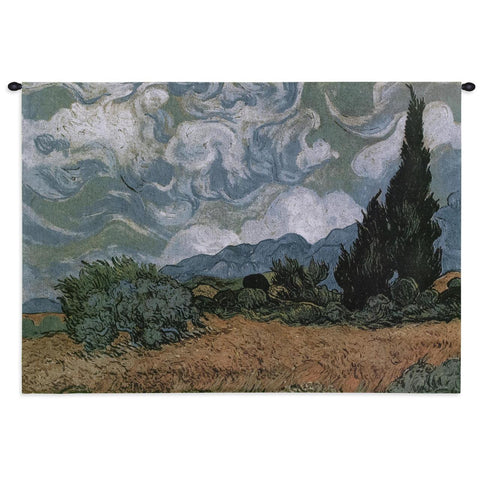 Wheat Field with Cypress Art Tapestry Wall Hanging