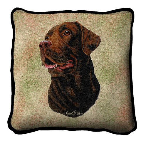 Chocolate Labrador Retriever Dog Portrait Art Tapestry Pillow