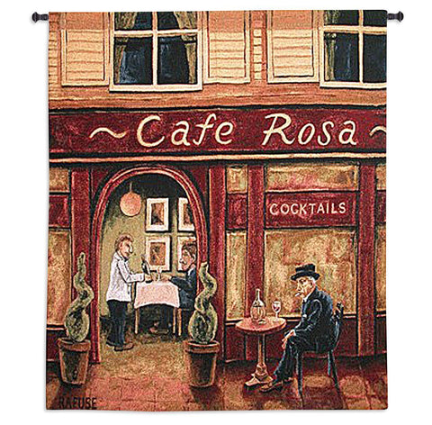 Cafe Rosa Art Tapestry Wall Hanging