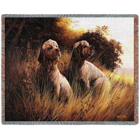 Clumber Spaniel Dog Duo Art Tapestry Throw