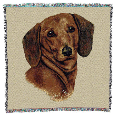 Red Dachshund Dog Portrait Art Tapestry Lap Throw