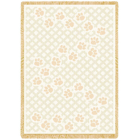 Dog Paw Prints Art Tapestry Throw