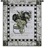Grapes and Bottle Labels I Art Tapestry Wall Hanging