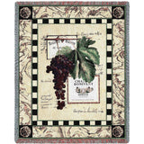 Grapes and Bottle Labels IV Art Tapestry Throw