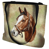 Thoroughbred Light Brown Horse Portrait Art Tapestry Tote Bag