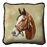 Thoroughbred Light Brown Horse Portrait Art Tapestry Pillow