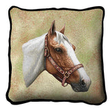 Pinto Horse Portrait Art Tapestry Pillow