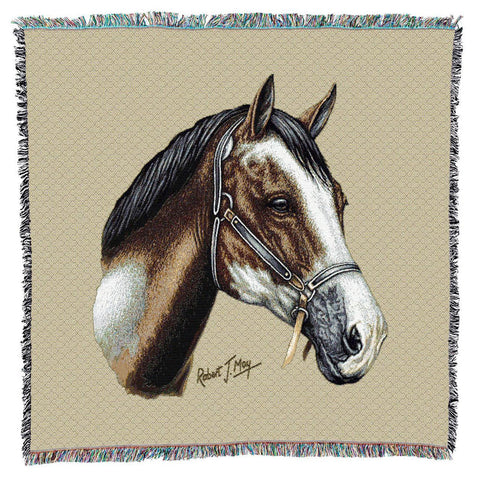 Paint Horse Portrait Art Tapestry Lap Throw