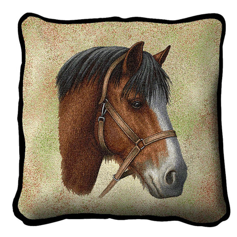 Clydesdale Horse Portrait Art Tapestry Pillow