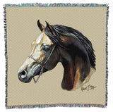 Arabian Horse Portrait Art Tapestry Lap Throw