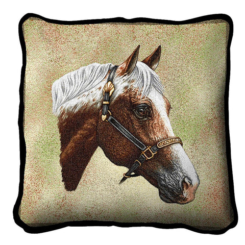 Appaloosa Horse Portrait Art Tapestry Pillow