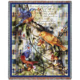 Birds and Psalms 124:7 Art Tapestry Throw