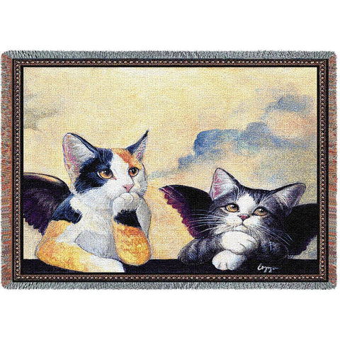 Cherub Cats Art Tapestry Throw