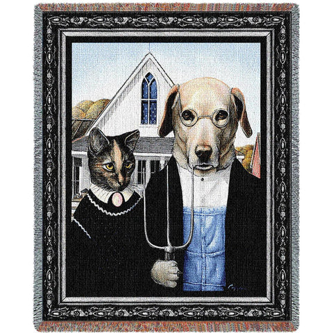 Cat and Dog Gothic Art Tapestry Throw
