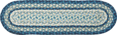 Breezy Blue/Taupe/Ivory Oval Braided Jute Stair Tread 19-362
