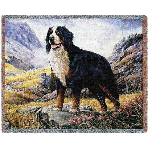 Bernese Mountain Dog Art Tapestry Throw
