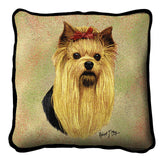 Yorkshire Terrier Dog Portrait Art Tapestry Pillow