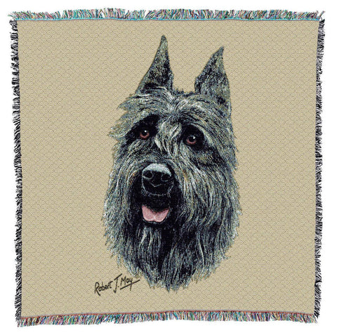 Bouvier Des Flandres Dog Portrait Art Tapestry Lap Throw