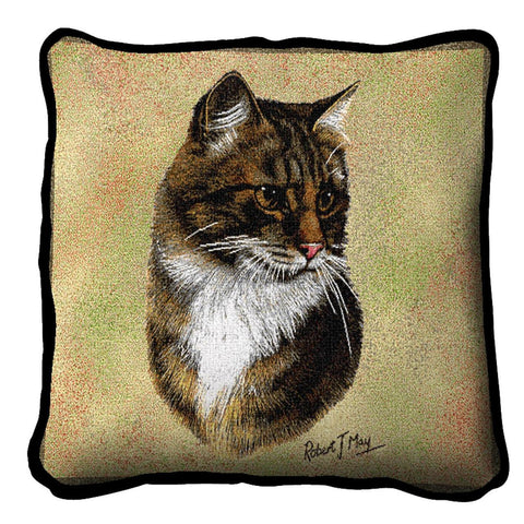 Brown Tabby Cat Portrait Art Tapestry Pillow
