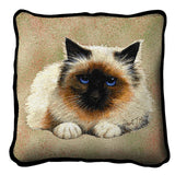 Birman Cat Portrait Art Tapestry Pillow