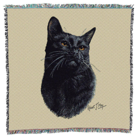 Black Cat Portrait Art Tapestry Lap Throw