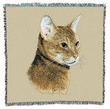 Abyssinian Cat Portrait Art Tapestry Lap Throw