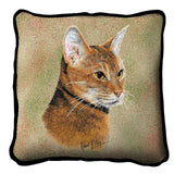 Abyssinian Cat Portrait Art Tapestry Pillow