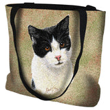 Black and White Cat Portrait Art Tapestry Tote Bag