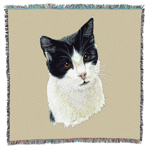 Black and White Cat Portrait Art Tapestry Lap Throw