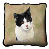 Black and White Cat Portrait Art Tapestry Pillow