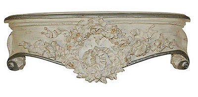 Olde World Style Floral Wreath Bed Crown in Creme Gold Silver Finish