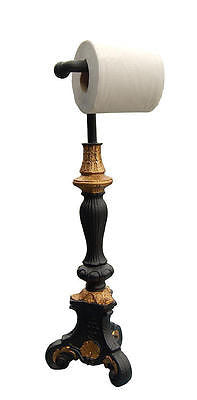 Classic Style Standing Toilet Paper Holder, Black & Gold Leaf Color Finish