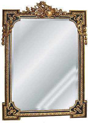 Musical Motif Wall Mirror Antique Reproduction, Gold on Black Finish