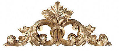 Scrolled Acanthus with Elegant Leaf Center Over the Door Wall Decor, Gold Leaf Color Finish