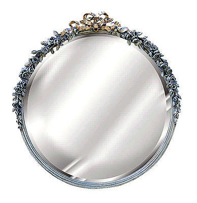 Roses and Ribbon Round Beveled Wall Mirror in Verona Finish