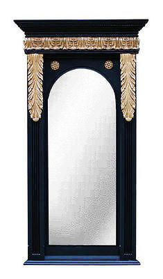 Beaded Top and Acanthus Trim Wall Mirror in Gold on Black Color Finish